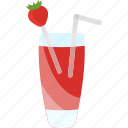 coctails, drink, strawberry, tubular icon