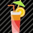 coctails, fruit, tubular, umbrella icon