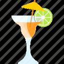 coctails, fruit, lime, umbrella icon