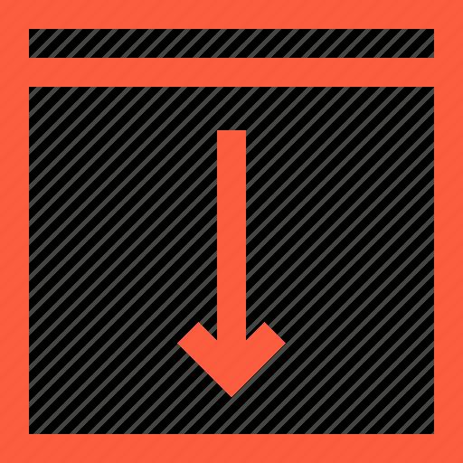 arrow, bottom, browser, decline, down, download, window icon
