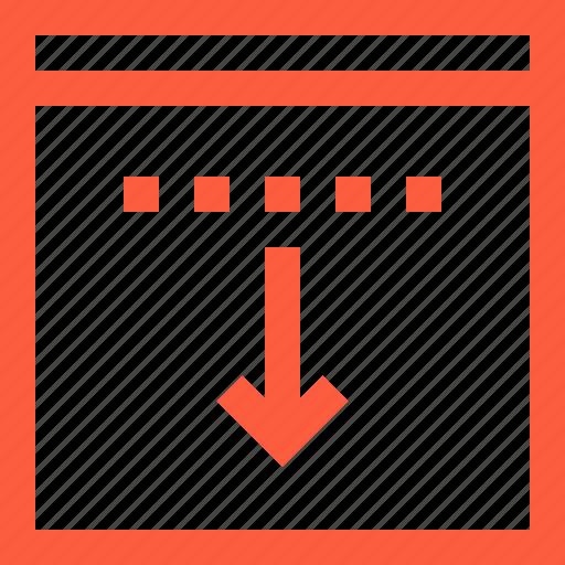 arrow, browser, decline, down, download, window icon