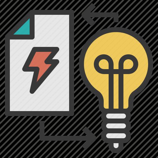 action, execute, lightbulb, think, thunder icon