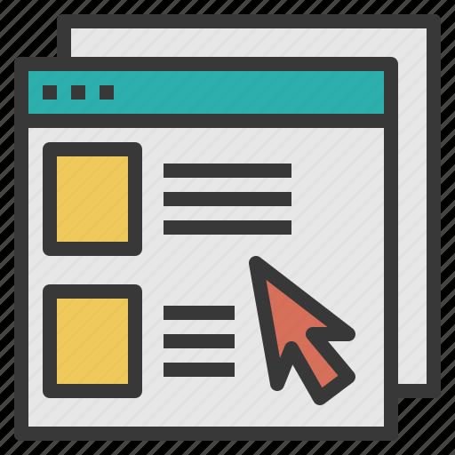 content, cursor, internet, multimedia, website, window icon