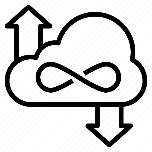 cloud, data, download, infinity, storage, unlimited, upload icon