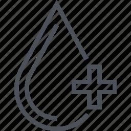 blood, heath, medicine, serum, water icon