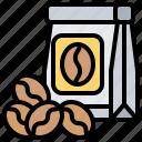 arabica, bag, beans, coffee, retail icon