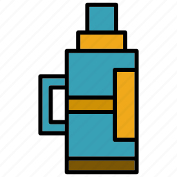 cafe, coffee, hot, office, thermos, vacuum bottle, work icon