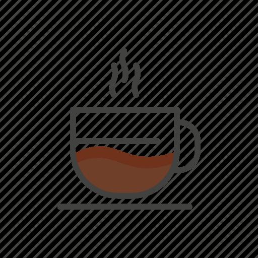 coffee, drink, hot, line, mug, thin icon