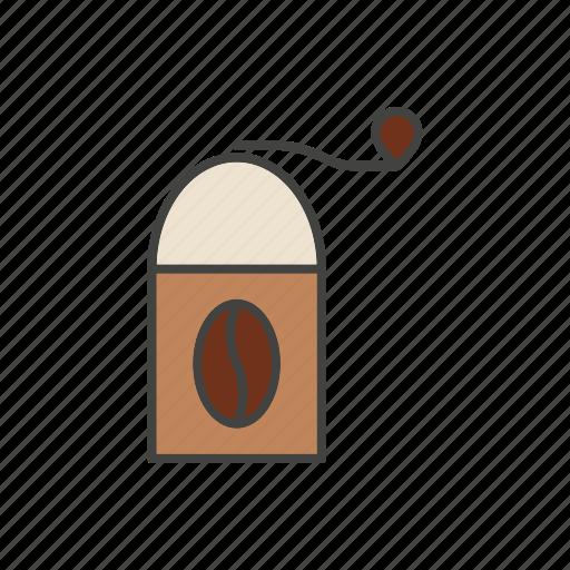 bean, coffee, grinder, line, thin icon