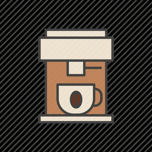 bean, coffee, cup, line, maker, mug, thin icon
