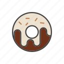coffee, dessert, donut, line, thin icon