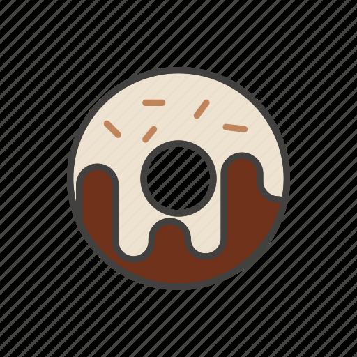 coffee, dessert, donut, line, thin icon