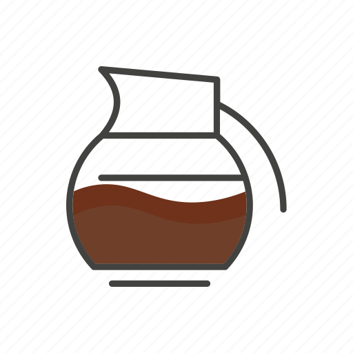coffee, drink, jug, line, pot, thin icon