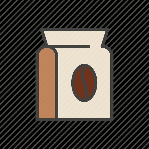 baen, bag, coffee, line, thin icon