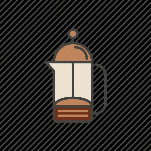 coffee, line, maker, press, thin icon