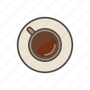 coffee, cup, drink, hot, line, mug, thin icon
