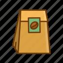 coffee bag, coffee beans, coffee grounds, ground coffee
