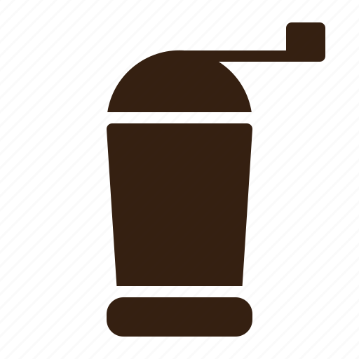 brown, cafe, coffee, grinder, vintage icon