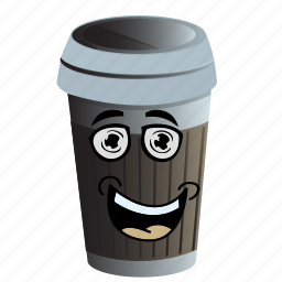 cartoon, coffee, cup, emoji, face, smiley icon