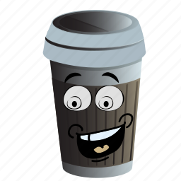 cartoon, coffee, cup, emoji, face, smiley icon