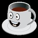 cartoon, coffee, emoji, face, mug, smiley icon