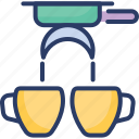 coffee, crossed, doped, double, espresso, filter, maker