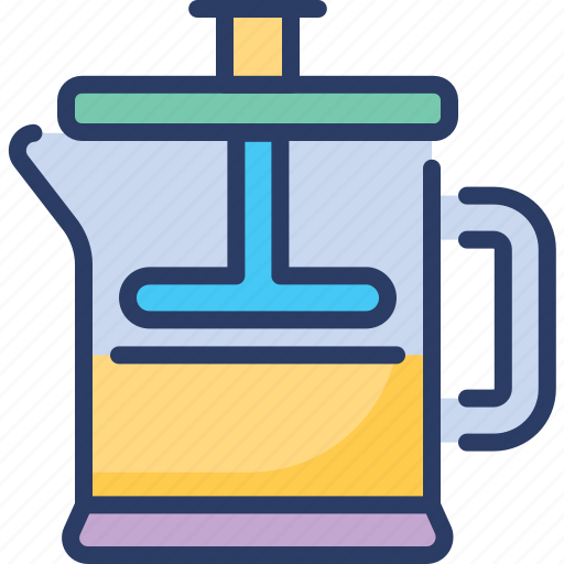 Cafetiere, coffee press, french press, piston, plunger, press pot, standoff icon - Download on Iconfinder