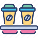 coffee, cup, disposable, holder, mug, picker, tray icon