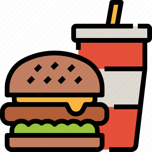 burger, drink, fast, food icon