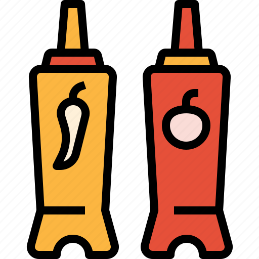 bottle, ketchup, sauces, spicy, tomato icon
