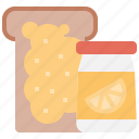 bakery, bread, fruit, jam, jelly, toast