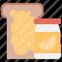 bakery, bread, fruit, jam, jelly, toast icon