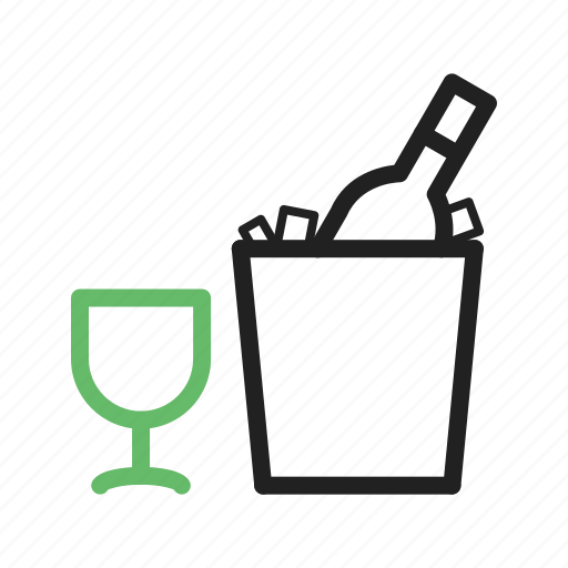 Bottle, ice, wine, alcohol, cream, drink, glass icon - Download on Iconfinder
