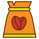 bag, coffee, coffee bean, coffee shop, package, tea icon