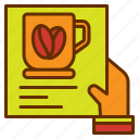 bill, coffee, hand, list, menu icon