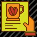bill, coffee, hand, list, menu
