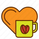 coffee, drink, heart, love, lover icon