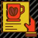 bill, coffee, drink, hand, list, menu icon