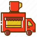 car, coffee, shop, store, transport, transportation, truck, vehicle icon