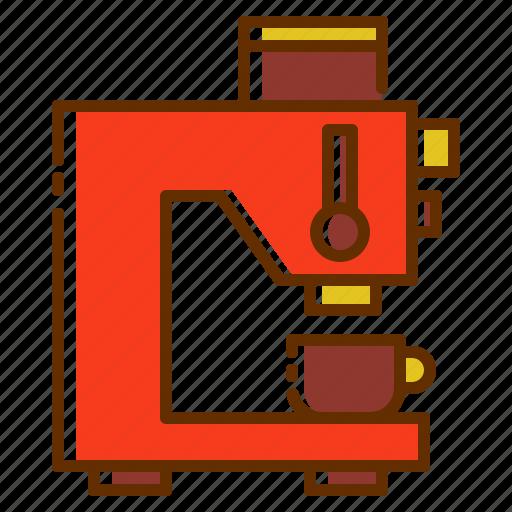 coffee, coffee maker, coffee shop, cup, hot, machine, press icon