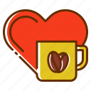 coffee, drink, heart, love, lover, romance, tea icon