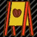 board, coffee, coffee shop, sign, store