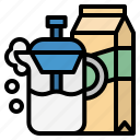 foaming, frother, milk, streamer icon