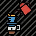 coffee, hario, over, pour, pourover icon