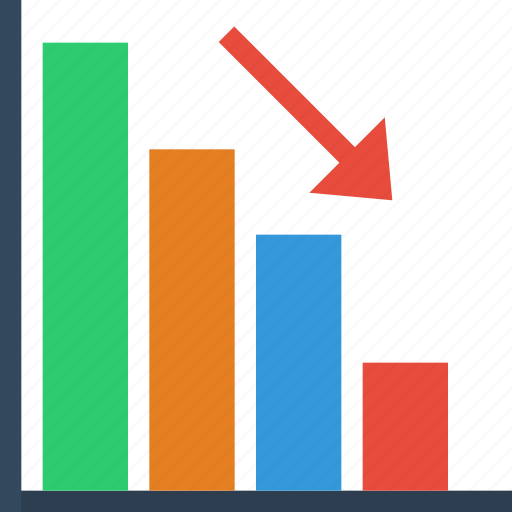 analystic, arrow, bar, chart, decrease, down, report icon
