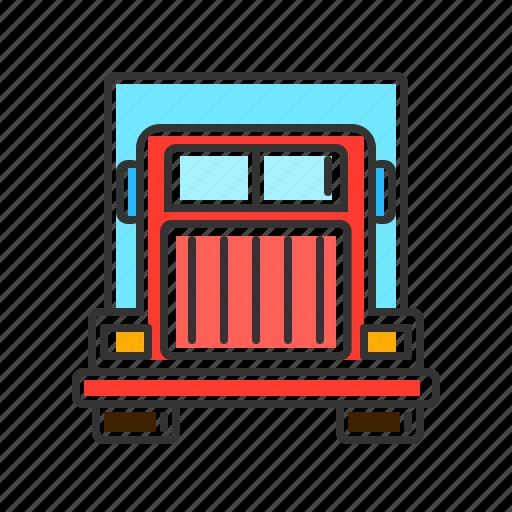 delivery, semi truck, transport, transportation, truck, vichele icon