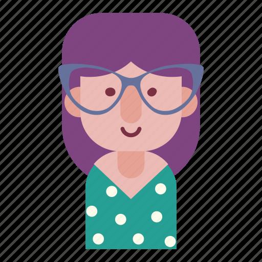 avatar, emotion, face, female smile, girl, hipster, user icon