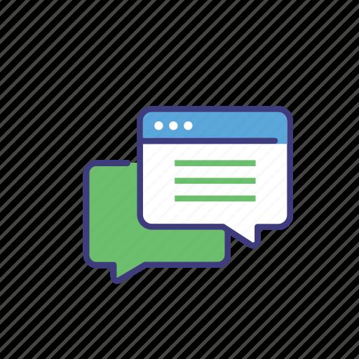 bubble, chat, communication, customer support, disscusion, message, speech, talk icon
