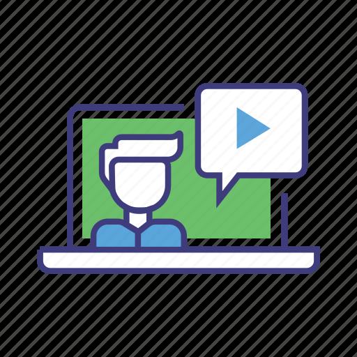 live, live stream, media, play movie, record, social, vlog icon