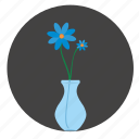 blue, bud, flower, glass, round, vase icon